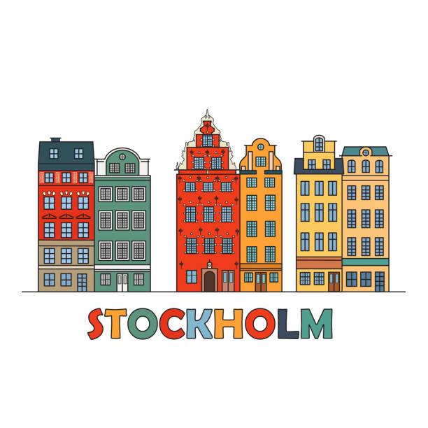 bildbanksillustrationer, clip art samt tecknat material och ikoner med gamla stan i stockholm, sverige - stockholm