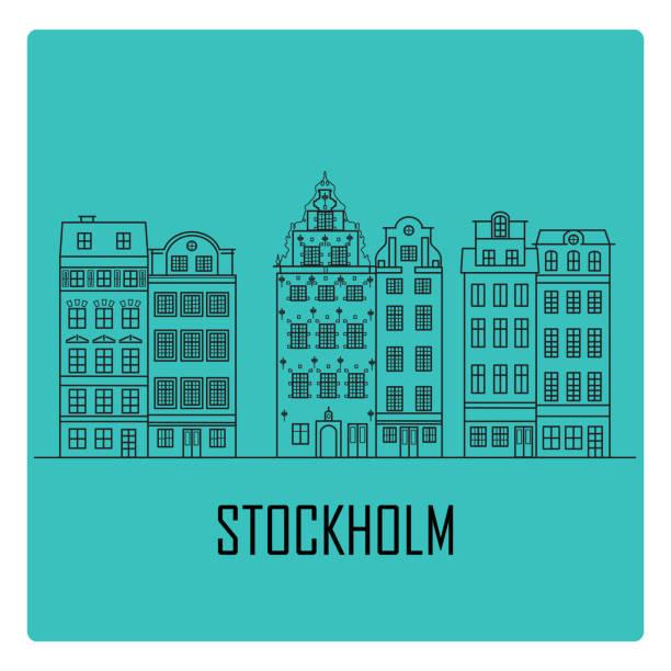 bildbanksillustrationer, clip art samt tecknat material och ikoner med gamla stan i stockholm, sverige - skyline stockholm