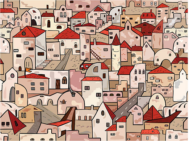 Old town seamless background vector art illustration