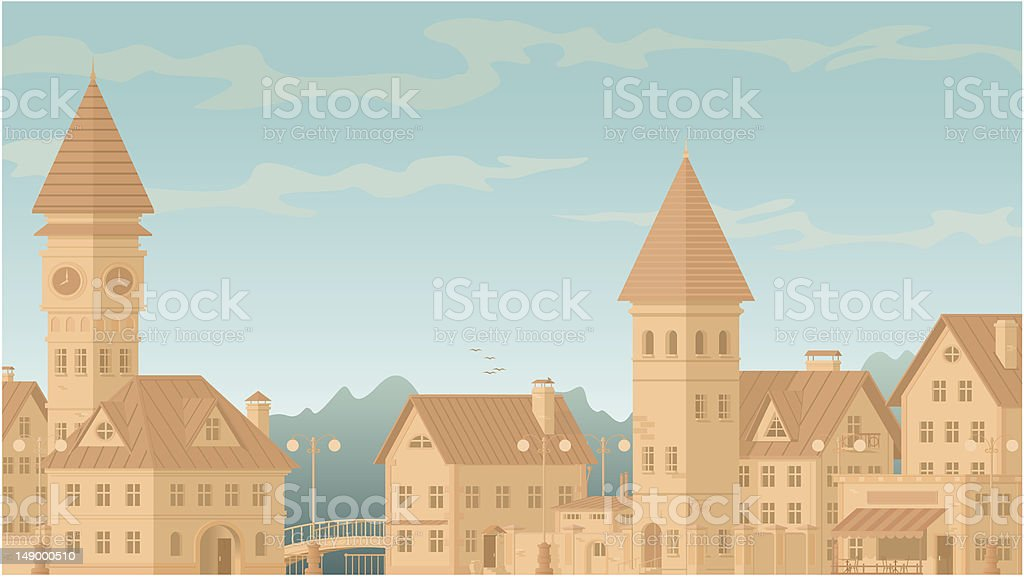 Old town royalty-free stock vector art