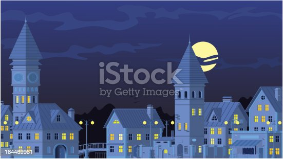Night landscape with city and the full moon