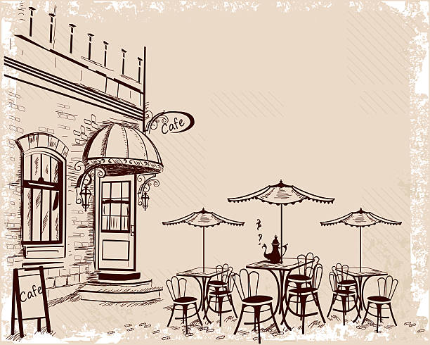 old town views and street cafes. - london fashion stock illustrations, clip art, cartoons, & icons