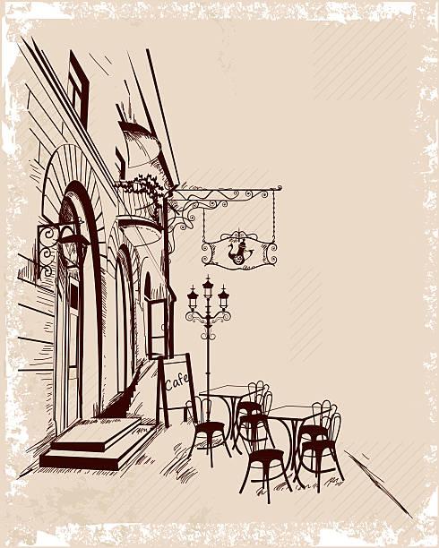 旧市街の眺めとストリートカフェです。 - ロンドンのファッション点のイラスト素材/クリップアート素材/マンガ素材/アイコン素材