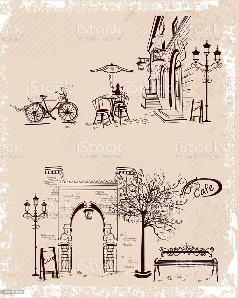 Old town views and street cafes. vector art illustration