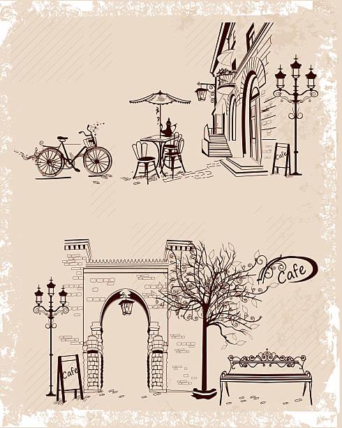 ilustraciones, imágenes clip art, dibujos animados e iconos de stock de vista de la ciudad antigua y cafeterías. - moda parisina