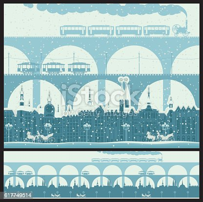 Seamless ornament with an old town with bridges and retro transport in winter