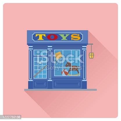 Flat design long shadow vintage toy store building vector illustration, Shop facade with colorful sign and toys in window