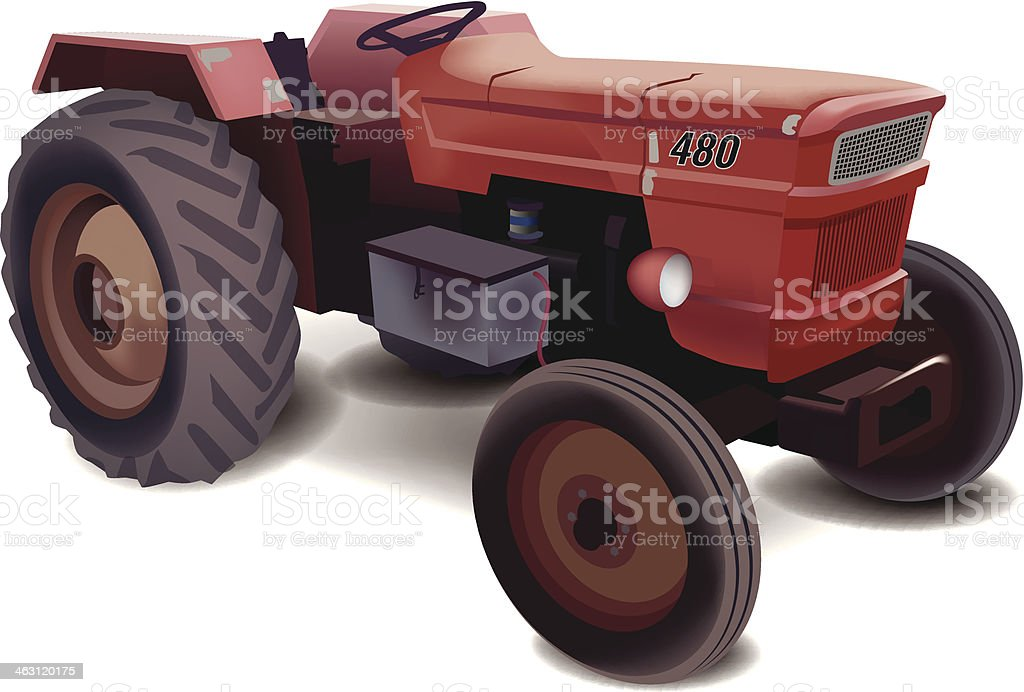 Old Tractor vector art illustration