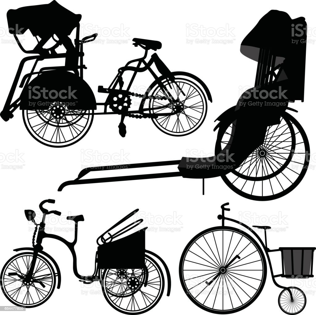 Old Traditional Bicycle Trishaw Tricycle in Silhouette Vector vector art illustration
