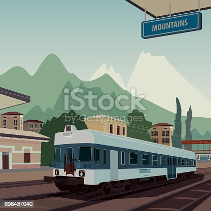 Landscape view with old train at railway station of European town. In the background the natural mountain scenic area. Realistic flat style. Square aspect ratio