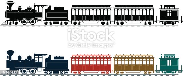 Two versions of an old style steam train, each on a separate layer. The mono version has all the white detail lines as cut out shapes, whereas on the colour version some detail ( doors, some loco and caboose decoration) are overlaid colour.