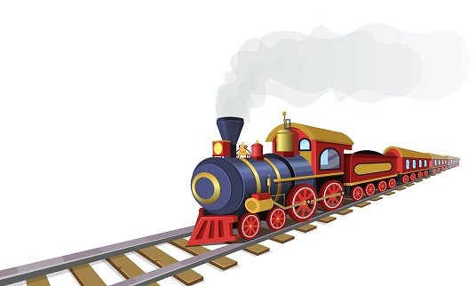 Old train with railway station in the village.Vector cartoon illustration.