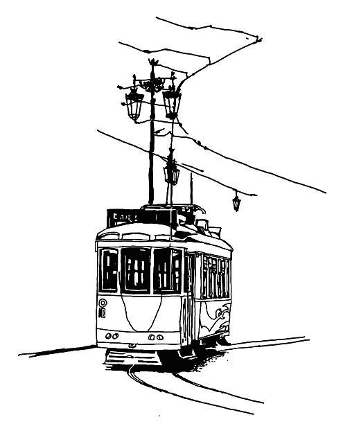 stary tramwaj w lizbonie - lizbona stock illustrations