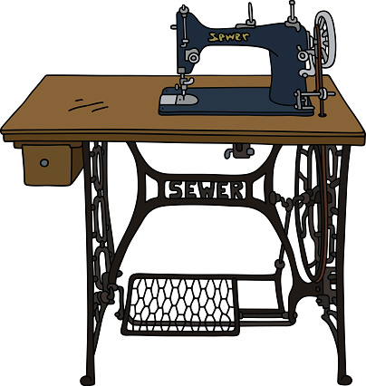 Old treadle sewing machine