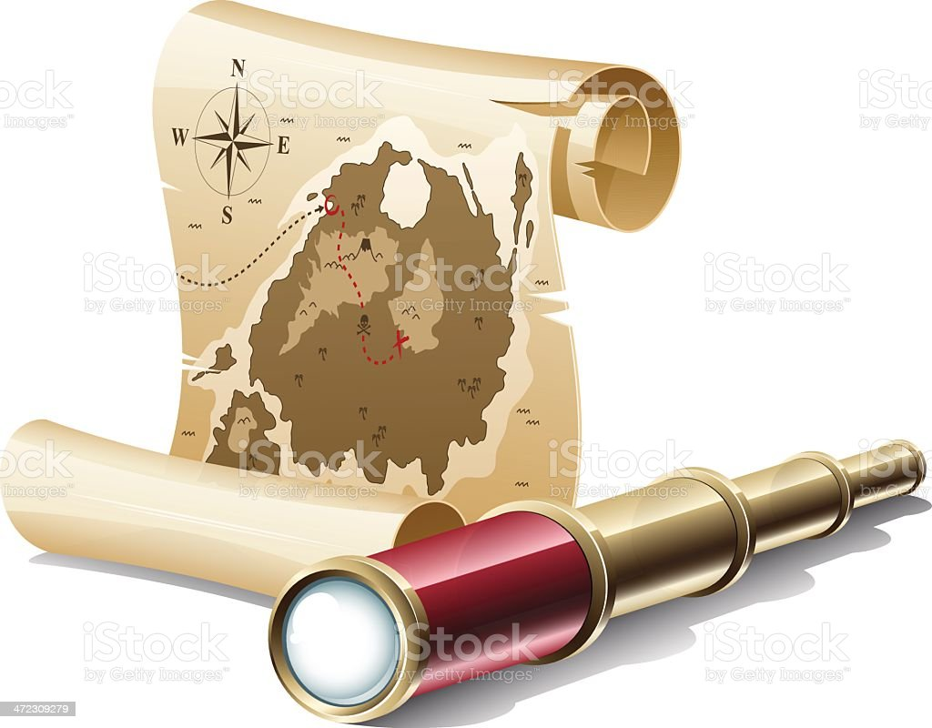 Old treasure map and spyglass royalty-free old treasure map and spyglass stock vector art & more images of adventure