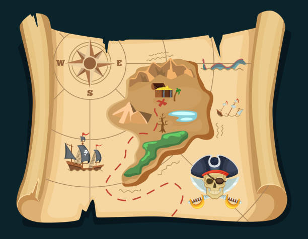 old treasure map for pirate adventures. island with old chest. vector illustration - pirates stock illustrations, clip art, cartoons, & icons
