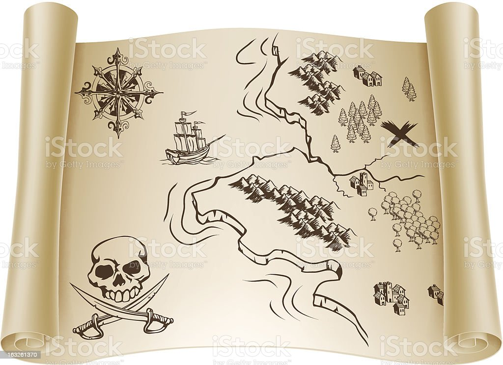 Old Treasure Map On Scroll Royalty Free Stock Vector Art