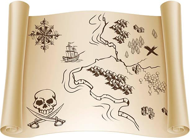 ilustrações, clipart, desenhos animados e ícones de old mapa do tesouro em role - mapas de tesouro