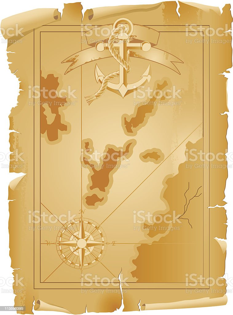 Old treasure map with anchor and ribbon vector art illustration