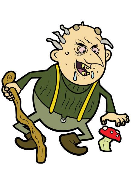 old troll - old man funny cartoon stock illustrations, clip art, cartoons, & icons