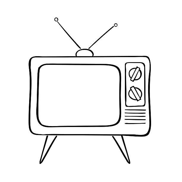 old tv set, vector illustration. - телевизионная индустрия stock illustrations