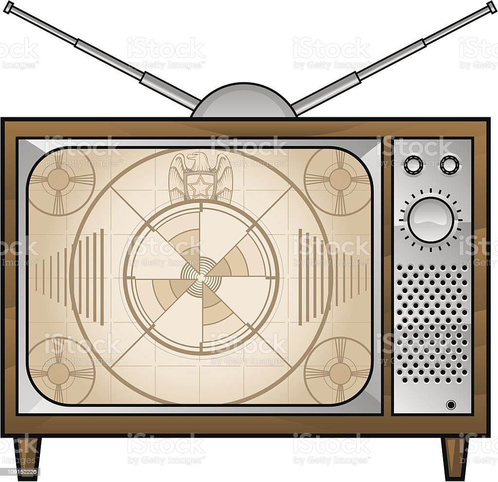 old tv vector art illustration