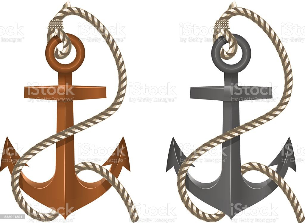 royalty free rusty anchor with rope clip art vector images rh istockphoto com Anchor with Rope Clip Art Cartoon Anchor Clip Art