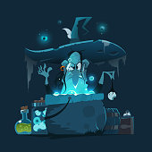 Old ugly witch with big hat and magic pot cauldron