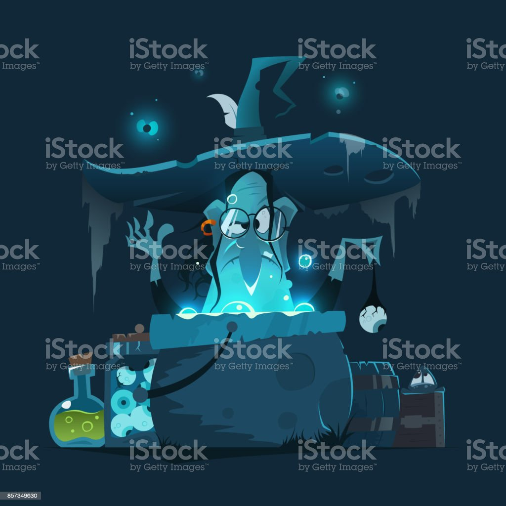 Old ugly witch with big hat and magic pot cauldron vector art illustration