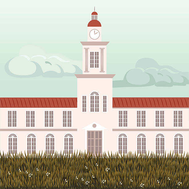 Old university building An old university building illustration. All objects are well structurated on a sepparete layers. All objects are properly named, easy to edit or change.  ivy league university stock illustrations