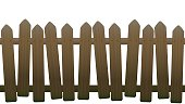 Old, unsteady, crooked fence with wooden texture, seamless extendable - isolated vector illustration on white background.
