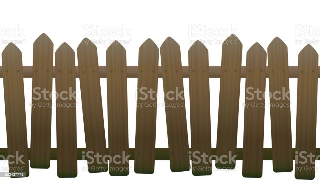 Old, unsteady, crooked fence with wooden texture, seamless extendable - isolated vector illustration on white background. vector art illustration