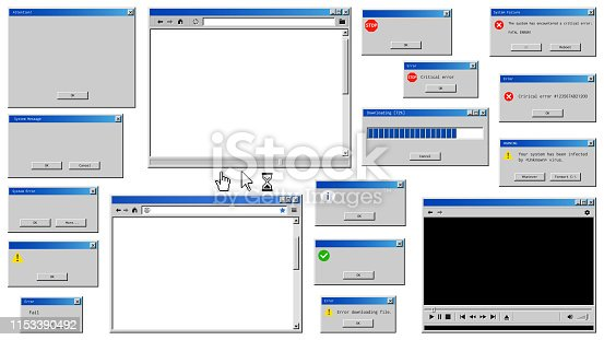 istock Old user interface windows. Retro browser and error message popup. 1153390492
