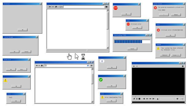 ilustrações de stock, clip art, desenhos animados e ícones de old user interface windows. retro browser and error message popup. - computer