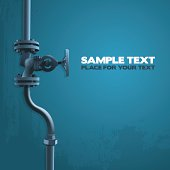 Old valve, industry illustration on blue with place for your text