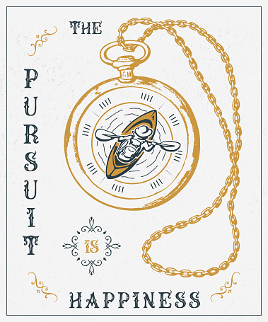 old vector illustration The pursuit is happiness