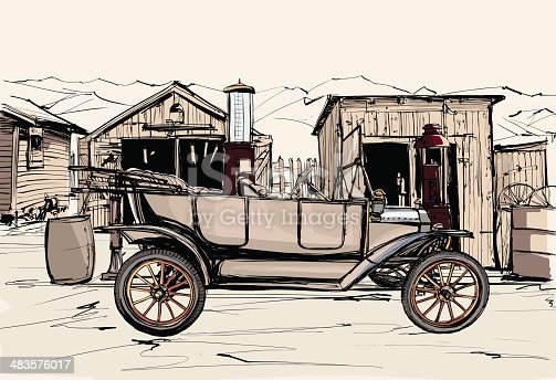 Vector illustration -  old vehicule at a gas station in the desert