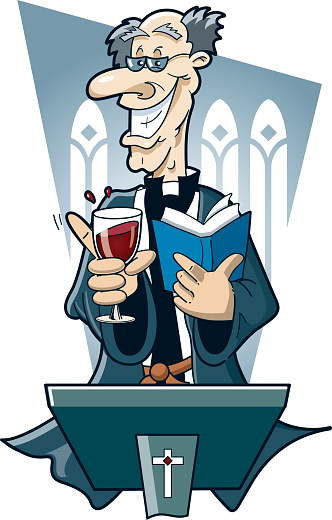 Old vicar or priest drinking red wine at the pulpit