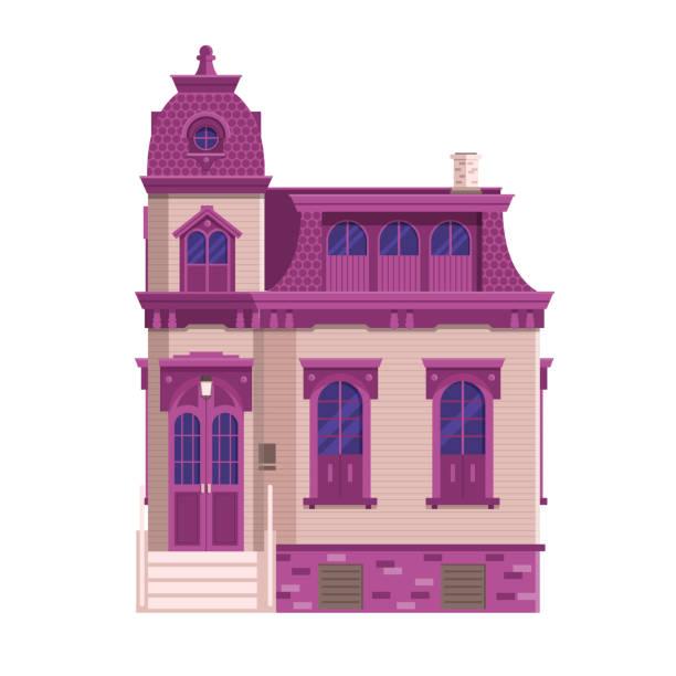 viktorianischen herrenhaus altbau - villas stock-grafiken, -clipart, -cartoons und -symbole