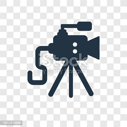 Old Video Camera vector icon isolated on transparent background, Old Video Camera transparency logo concept