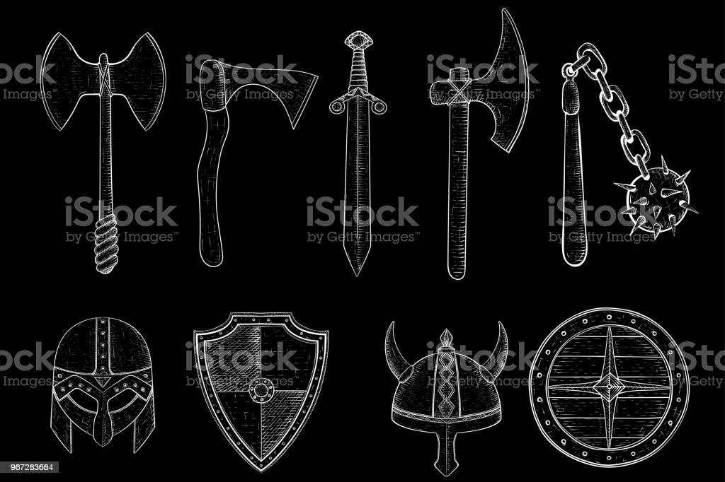 Ilustración de Viejas Armas De Viking Hacha Espada Mayal Escudos ...