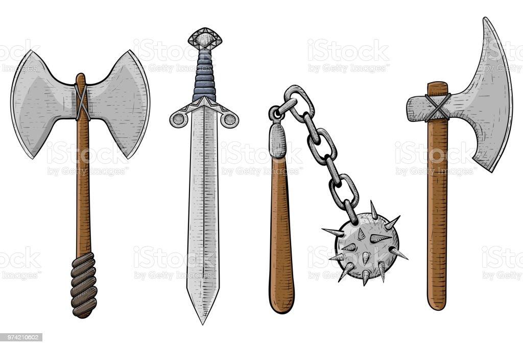 Ilustración de Viejas Armas De Viking Hacha Espada Mayal Tacon A ...