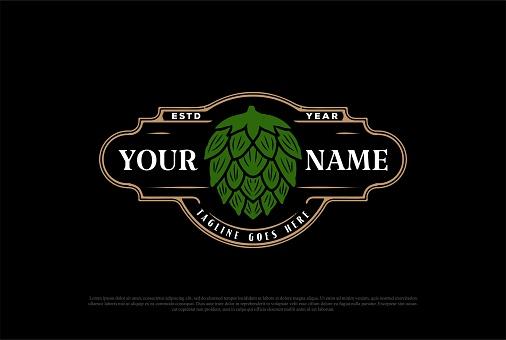 Old Vintage Green Hop for Craft Beer Brewing or Brewery Label Logo Design Vector