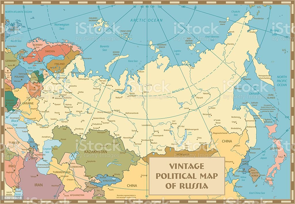 Old Vintage Map Of Russian Federation Stock Vector Art & More Images ...