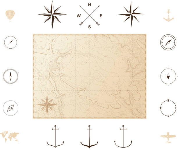 Old vintage map with icons. Compass roses Vector illustration isolated on white background ancient stock illustrations