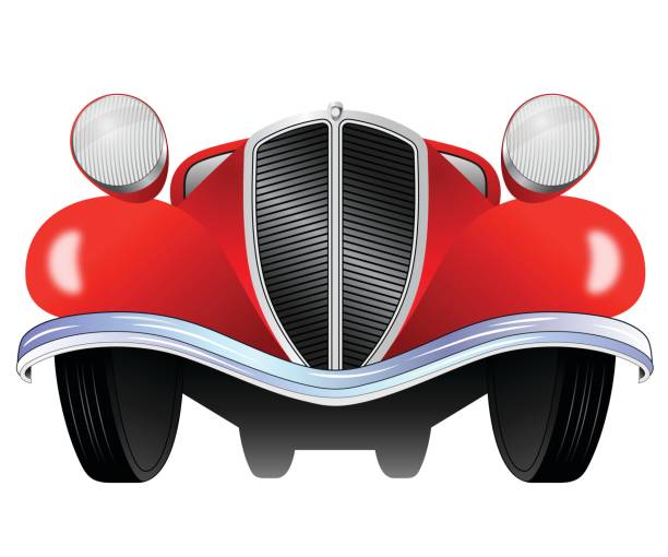 Old vintage model of the car from the front view vector art illustration