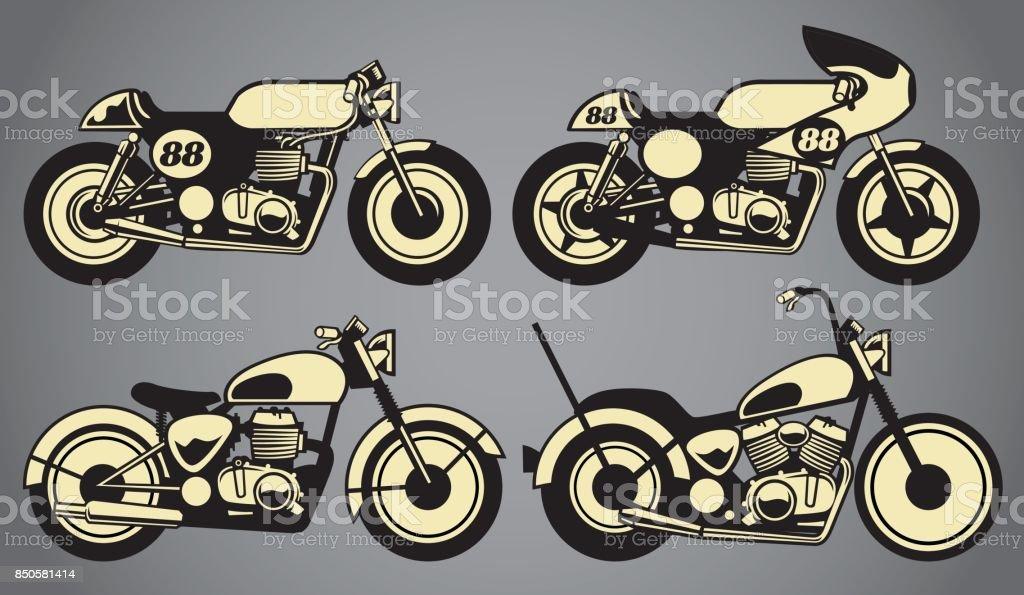 old vintage motorcycles vector art illustration