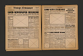 Old Vintage Newspaper Cover Page Empty Template Mockup Design Edition Concept with Place for Images. Vector illustration