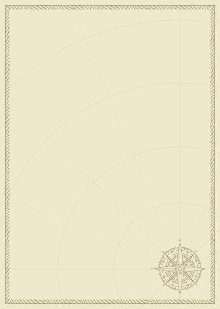 Old vintage paper with wind rose compass sign Old vintage paper with wind rose compass sign. Vector illustration on the theme of travel, adventure and discovery on the background of an old map. Pirate map concept. adventure borders stock illustrations