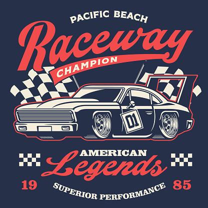 old vintage racing car shirt design